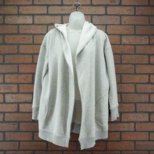 ATHLETA Gray Hooded Open Sweatshirt Cardigan XXS